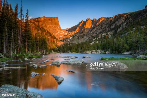 dream lake at sunrise - colorado stock pictures, royalty-free photos & images