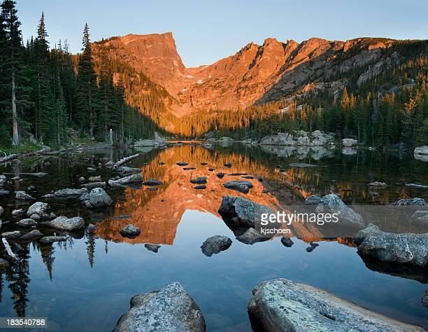 Dream Lake Sunrise Reflection of Hallet Peak