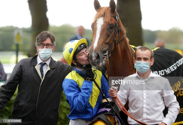 Dream Of Dreams ridden by Oisin Murphy after winning the Betfair Sprint Cup Stakes during Betfair Sprint Cup Day 2020 at Haydock Racecourse on...