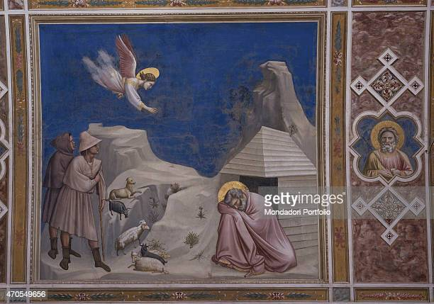 'Dream of Joachim by Giotto 13031305 14th Century fresco Italy Veneto Padua Scrovegni Chapel After restoration picture Whole artwork view The scene...