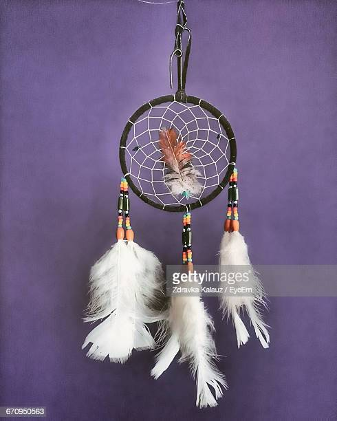 Dreamcatcher Hanging From Purple Wall