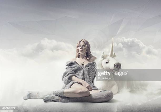 dreamer girl - unicorn stock pictures, royalty-free photos & images