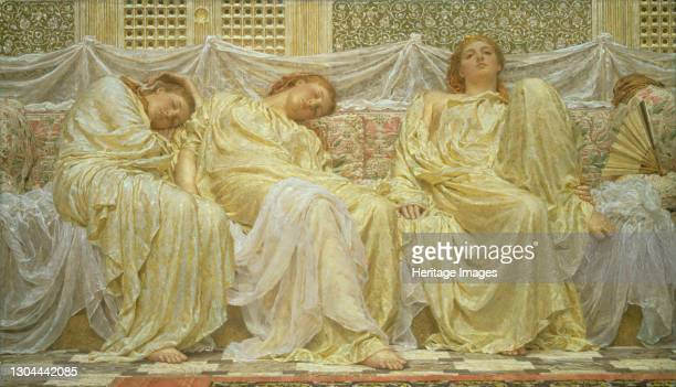 Dreamers, 1882. 'Dreamers' is a decorative work creating harmonies of pattern, tone and colour. The same model is depicted three times, the facial...