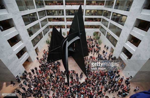 Dreamers fill the halls and atrium during a protest inside of the Hart Senate Office Building on November 9 2017 in Washington DC Dreamers were...