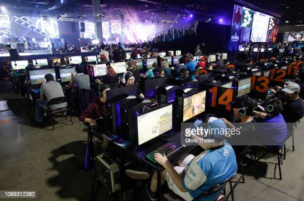 DreamHack Atlanta 2018 attendees compete during the event at the Georgia World Congress Center on November 18 2018 in Atlanta Georgia