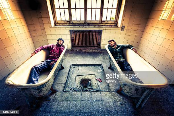 dreaming a hot bathtub - pants pulled down stock pictures, royalty-free photos & images