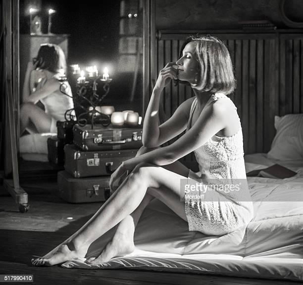 dreaming at dusk - women in slips stock photos and pictures