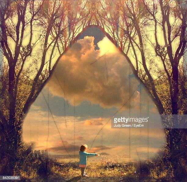 Dreamlike Scene With Girl In Meadow Under Arch Of Trees