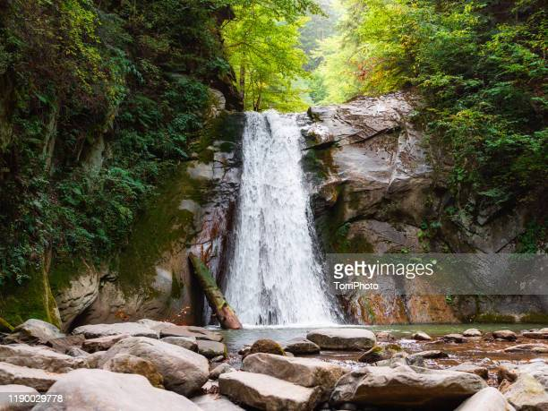 dreamlike waterfall hidden in the hills in summer forest - transylvania stock pictures, royalty-free photos & images