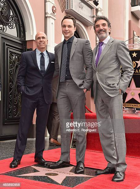 Dreamworks Animation CEO Jeffrey Katzenberg actor Jim Parsons and producer Chuck Lorre attend a ceremony honoring Jim Parsons wtih the 2545th Star on...