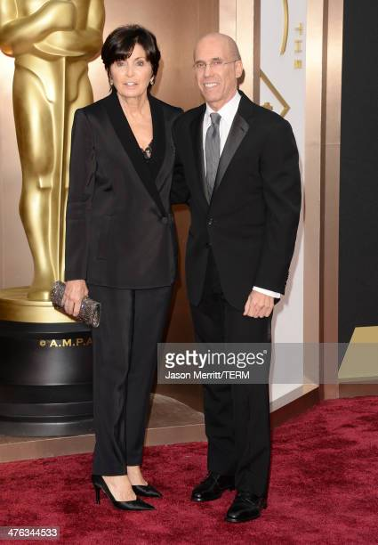 DreamWorks Animation CEO Jeffrey Katzenberg and Marilyn Siegel attend the Oscars held at Hollywood Highland Center on March 2 2014 in Hollywood...
