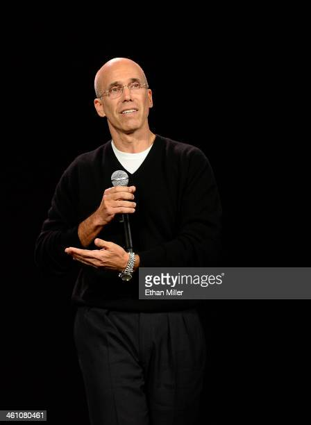 DreamWorks Animation CEO Jeffrey Katzenberg speaks during a keynote address by Intel Corp CEO Brian Krzanich at the 2014 International CES at The...
