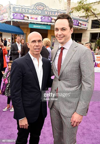 Dreamworks CEO Jeffrey Katzenberg and actor Jim Parsons attend the premiere of Twentieth Century Fox And Dreamworks Animation's 'HOME' at Regency...