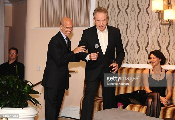 Dreamworks CEO Jeffrey Katzenberg and host Warren Beatty attend the 100th anniversary celebration of the Beverly Hills Hotel Bungalows supporting the...