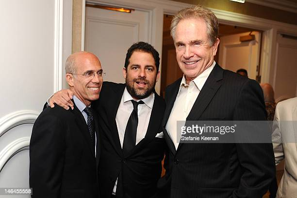 Dreamworks CEO Jeffrey Katzenberg with hosts Brett Ratner and Warren Beatty attend the 100th anniversary celebration of the Beverly Hills Hotel...