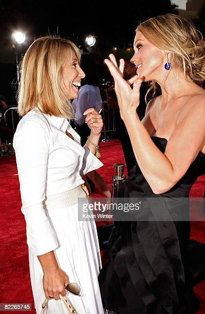 Dreamworks CEO Stacey Snider and actress Christine Taylor arrive on the red carpet of the Los Angeles Premiere of Tropic Thunder at the Mann's...