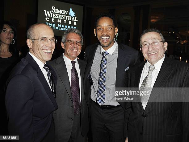DreamWork's Jeffrey Katzenberg Universal's Ron Meyer actor Will Smith and Rabbi Marvin Hier pose at the Simon Wiesenthal Center's Annual National...