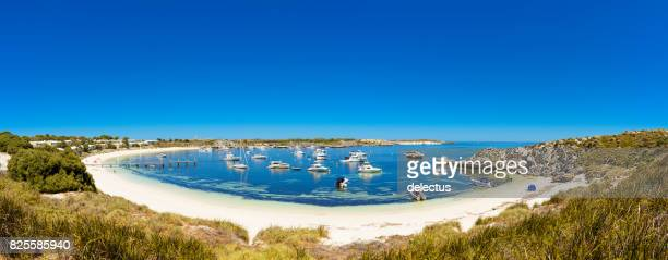 Dreamy Bay, white beach with boat and rocks, island in Indian Ocean, Rottnest Island, Australia, Western Australia, Down Under