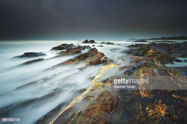 Dreamy effect of seascape during adverse weather.