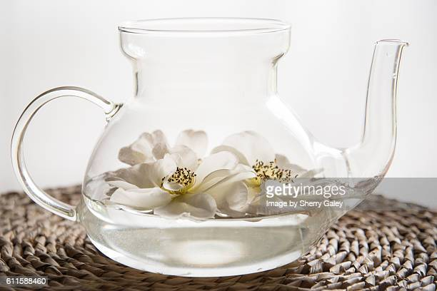 Dreamy floating roses in glass teapot