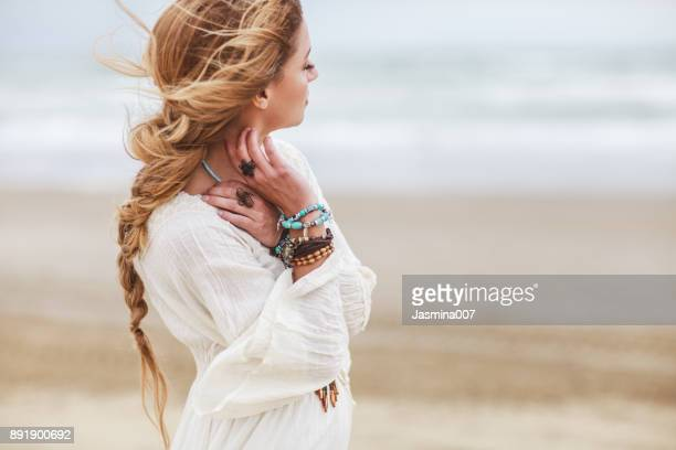 dreamy girl on beach - personal accessory stock pictures, royalty-free photos & images