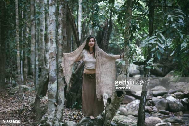 Dreamy gypsy girl in jungle
