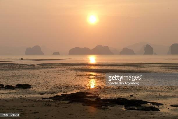 Dreamy sunrise on the shores of tropical Koh Yao Noi island, Thailand
