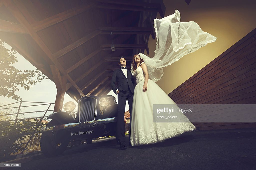 dreamy wedding couple : Stock Photo