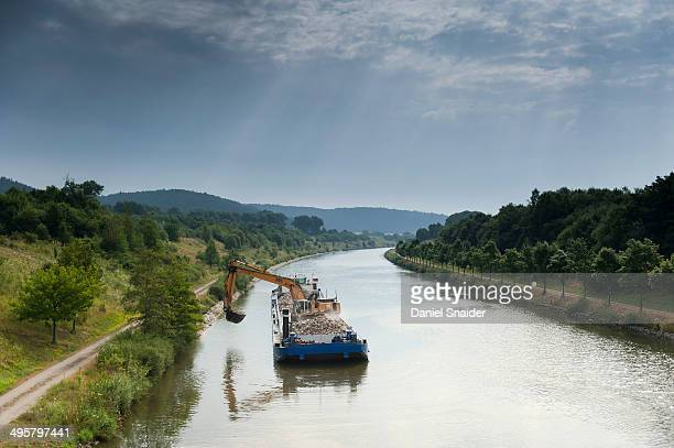 Dredger on the Main-Danube Canal, Altmuhltal, Bavaria, Germany