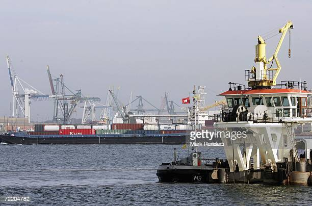 Dredger ship at work in the Schelde River at Antwerp port on October 17, 2006 in Antwerp, Belgium. The port is the 4th largest in the world, and...
