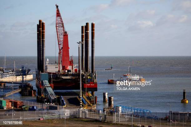 Dredger works to remove silt from the Harbour at the of Ramsgate, in Ramsgate, south east England on January 8, 2019. - In the Port of Ramsgate,...