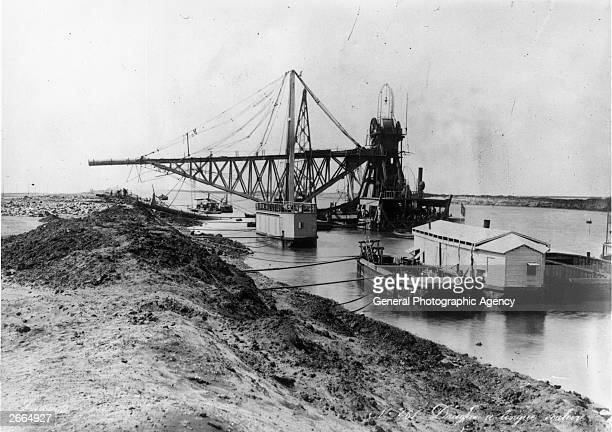 Dredging equipment used in the construction of the Suez Canal.