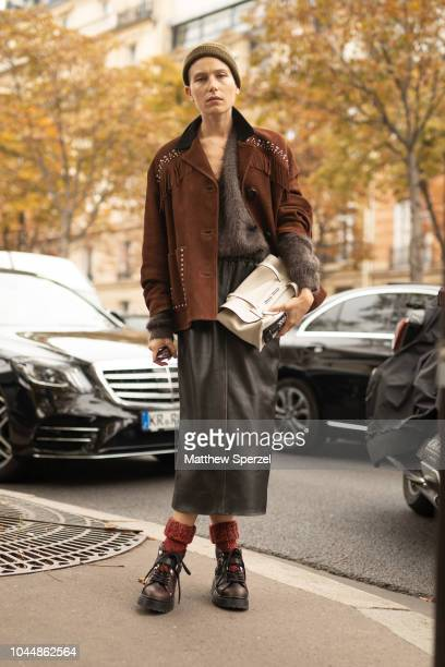 Dree Hemingway is seen on the street during Paris Fashion Week SS19 wearing Miu Miu on October 2 2018 in Paris France