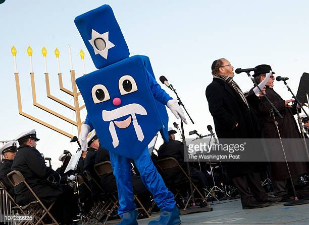Dreidel Man dances to music at the ceremony for the lighting of the National Chanukah Menorah on the Ellipse on the first night of Chanukah in...