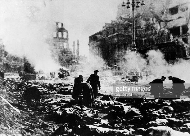 2 WW Dresden bombing air attack on Dresden 13Cremation of bodies on the Altmarkt in the center of Dresden the days after the air raid Feb1945
