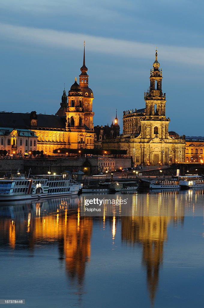 Dresden Brühls Terrace With Hofkirche And Palace Residence