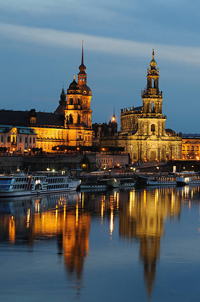 Dresden Bruhl`s Terrace with Hofkirche and Palace Residence Blue Hour