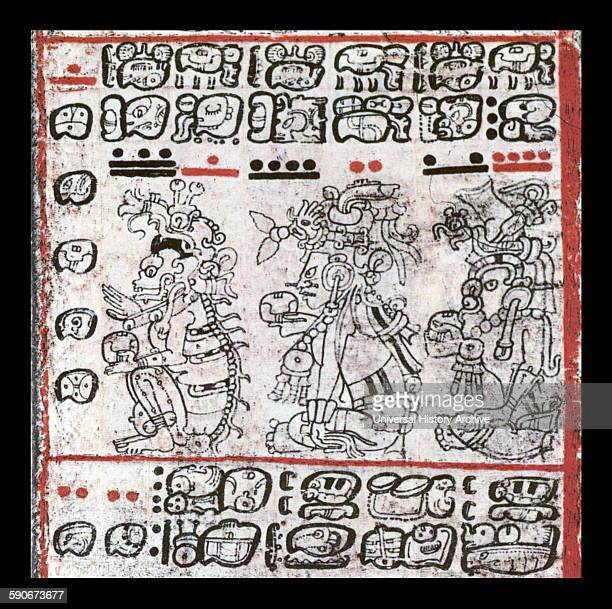 Dresden Codex fragment Maya Culture ca1200 AD Saxon State Library Dresden