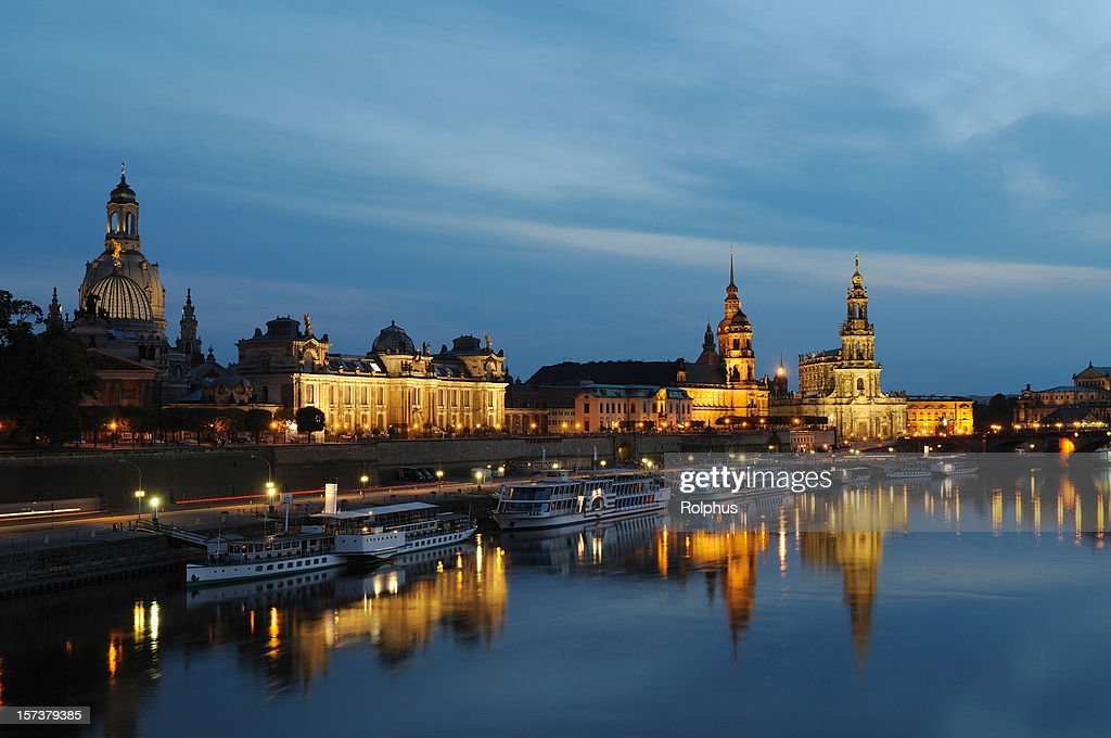 Dresden Famous Brühls Terrace With Bridge Night High Res