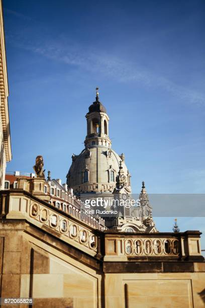 dresden frauenkirche in wintertime - dresden germany stock pictures, royalty-free photos & images