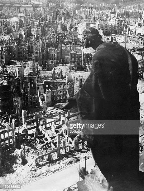 Dresden germany in 1945 as seen from the tower of the town hall after the angloamerican bombing that all but levelled the city at the end of world...