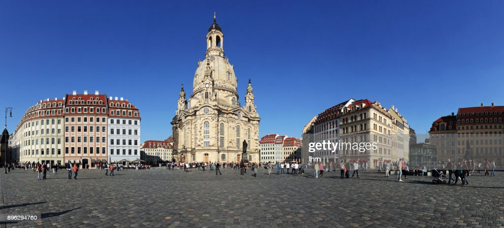 Dresden Neumarkt - famous town square with famous Frauenkriche (Dresden/ Saxony/ Germany) : Stock Photo