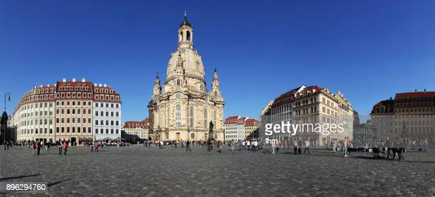 Dresden Neumarkt - famous town square with famous Frauenkriche (Dresden/ Saxony/ Germany)