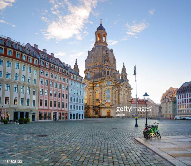 dresden neumarkt square at sunrise - saxony stock pictures, royalty-free photos & images