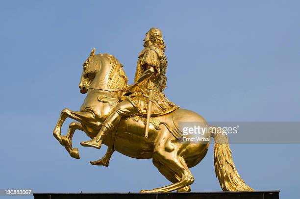 dresden new town, golden horseman, friedrich august i. elector of saxony, august the strong, dresden, saxony, germany - agosto fotografías e imágenes de stock