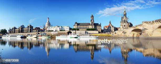 dresden skyline at sunny day - dresden germany stock pictures, royalty-free photos & images