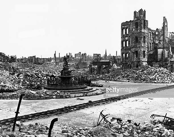 Dresden still lies in utter ruins in June 1947 two years after being bombed almost flat by Allied forces A nearly intact fountain left of center is...