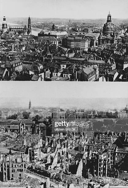 Dresden vor und nach dem Bombenangriff vom Februar 1945 Blick vom Rathausturm in Richtung Elbe Rechts die Frauenkirchelinks Schlossturm und Hofkirche