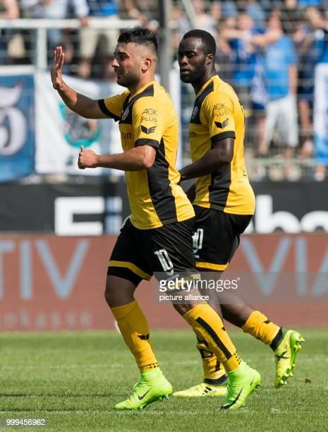 Dresden's Aias Aosman celebrating with Erich Berko his scoring of the 22 equaliser during the 2nd Bundesliga match pitting VfL Bochum vs Dynamo...