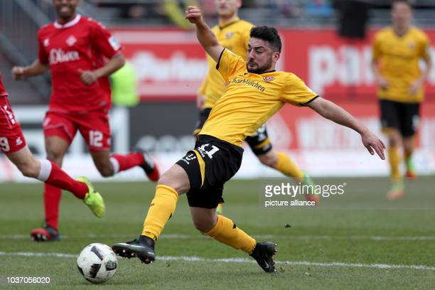 Dresden's Aias Aosman in action during the 2nd Bundesliga soccer match between Wuerzburg Kickers and Dynamo Dresden at the Flyeralarm Arena in...